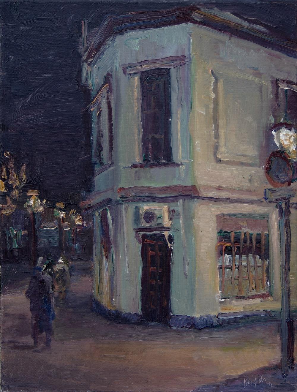Hoekhuis, s nachts (Maassluis)