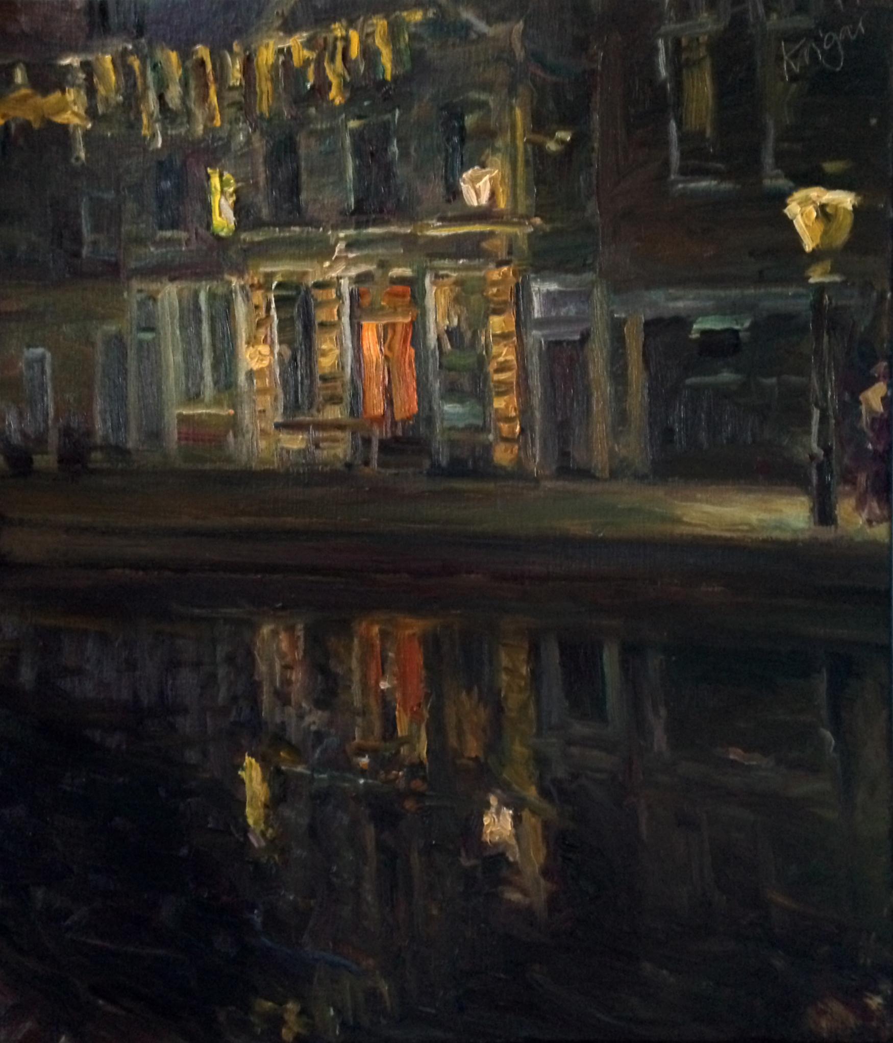 Nächtliche Spiegelung (Maassluis)