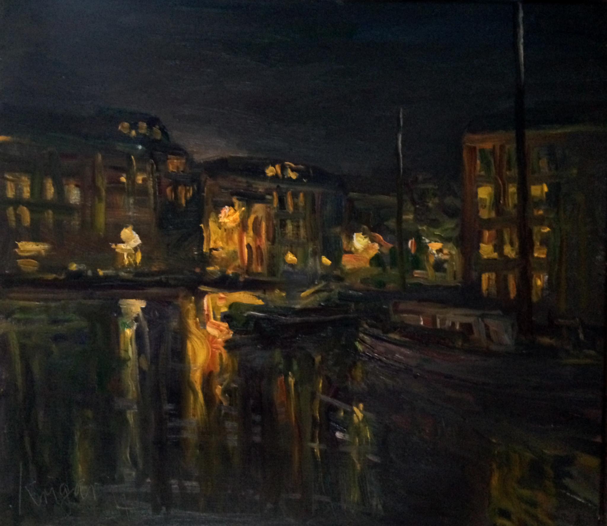 Andre Krigar Nachtliche spiegelung Maassluis