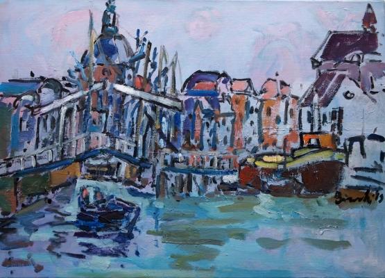 Olieverf schilderij 'Het galgewater Leiden' 50x70 cm