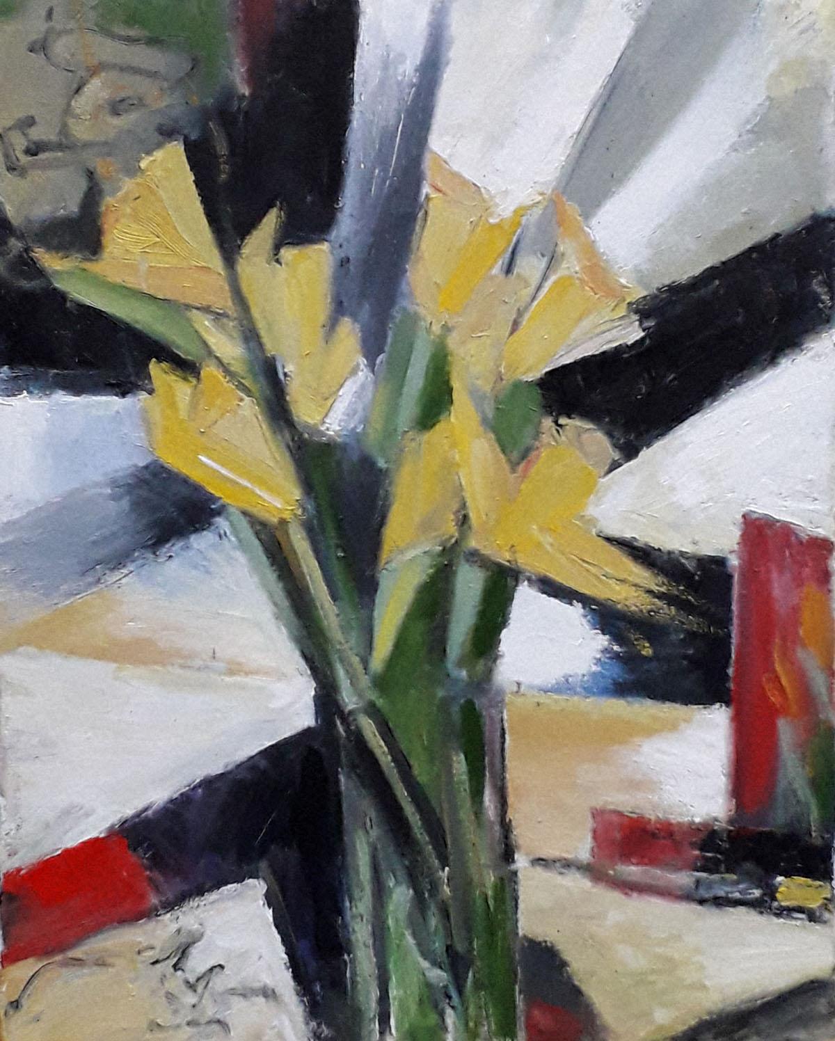 Arien Winkel - kubisme revisited - gele tulpen appel en kat_s