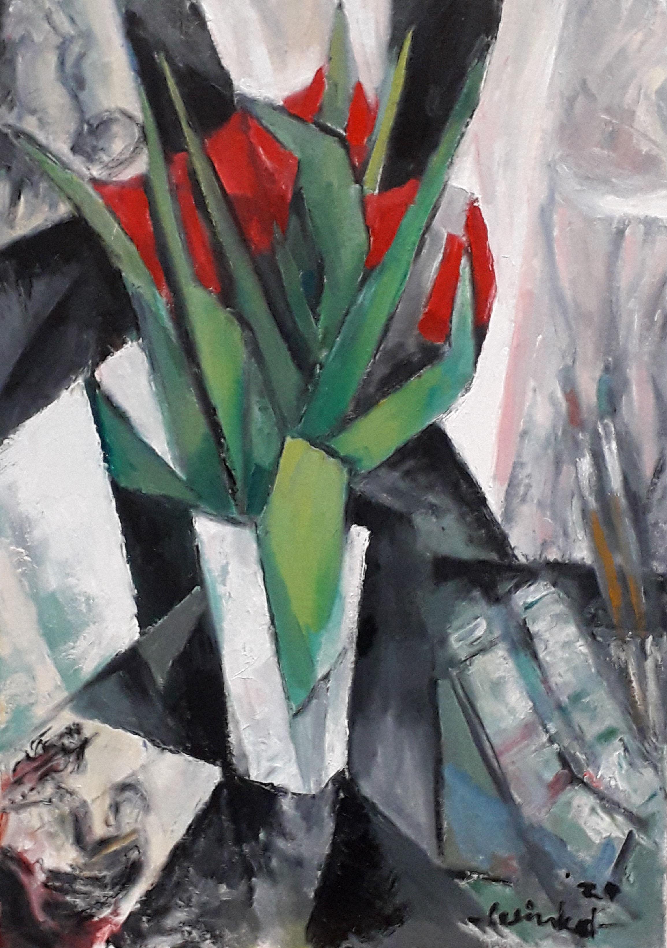 Arien Winkel - kubisme revisited - rode tulpen met naakt